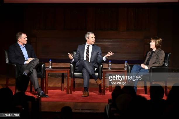 Frank Bruni, Andy Cohen and Camille Paglia attend TimesTalks Presents Camille Paglia and Andy Cohen at New York Society for Ethical Culture on April...