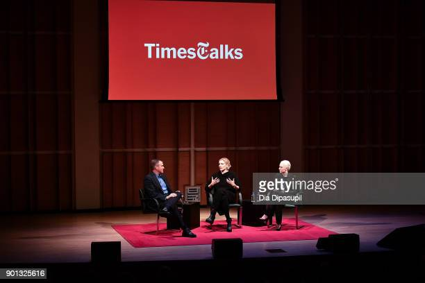 Frank Bruni interviews Greta Gerwig and Saoirse Ronan during TimesTalks Presents Greta Gerwig and Saoirse Ronan at Merkin Concert Hall at Kaufman...
