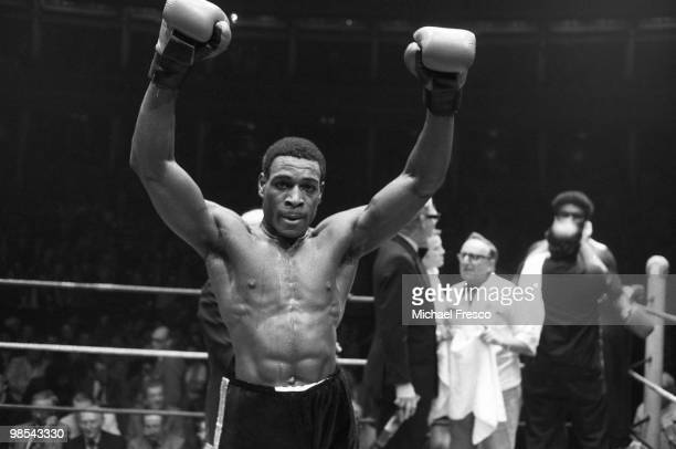 Frank Bruno British heavyweight boxer pictured celebrating in the ring 7th December 1983