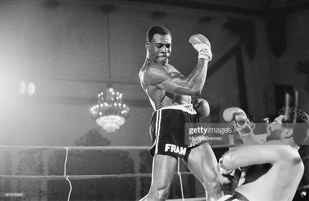 Frank Bruno knocks out Mike Jameson at DiVinci Manor, Chicago, Illinois, 9th July 1983.