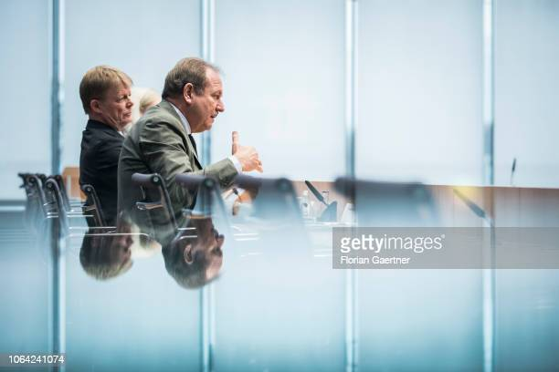 Frank Bsirske Head of the german labour union verdi and Reiner Hoffmann chairman of the German Confederation of Trade Unions are pictured during a...