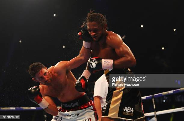 Frank Buglioni and Craig Richards in action during their British LightHeavyweight Championship contest at Principality Stadium on October 28 2017 in...