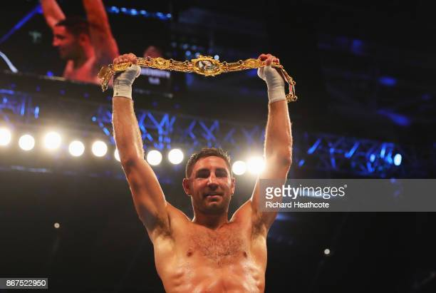 Frank Buglioni celebrates victory after the British LightHeavyweight Championship contest against Craig Richards at Principality Stadium on October...