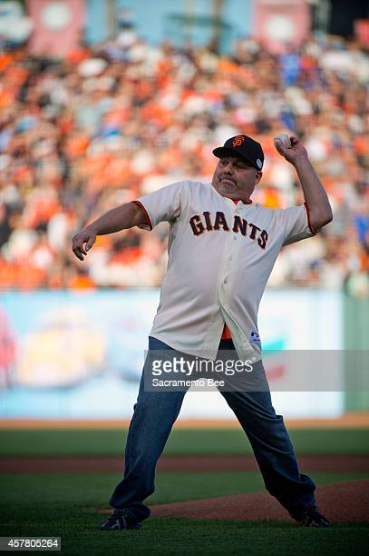 Frank Burke from Oakdale Calif throws out the ceremonial first pitch before Game 3 of the World Series at ATT Park in San Francisco Calif on Friday...