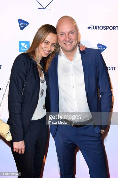 Frank Buschmann and his girlfriend Lisa Heckl attend the German Sports Journalism Award at Hotel Grand Elysee on March 25 2019 in Hamburg Germany