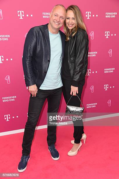 Frank Buschmann and his girlfriend Lisa Heckl attend the Telekom Entertain TV Night at Hotel Zoo on April 28 2016 in Berlin Germany