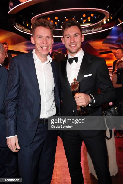 Frank Busemann and Decathlete world champion Niklas Kaul with award during the 'Sportler des Jahres 2019' Gala at Kurhaus BadenBaden on December 15...