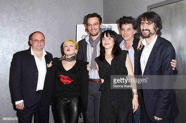 Frank Calo Cyndi Lauper George Leckovic Jelena Mrdja David Thornton and Darko Lungulov attend the premiere of ''Here There'' at Quad Cinema on May 14...