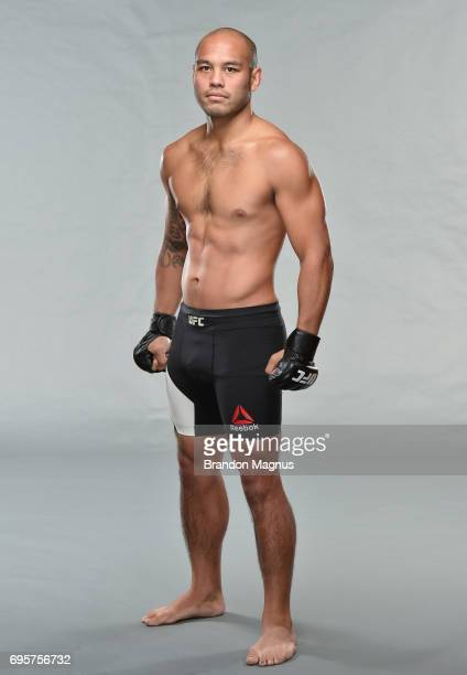 Frank Camacho of the Northern Mariana Islands poses for a portrait during a UFC photo session at the Marina Bay Sands on June 14 2017 in Singapore