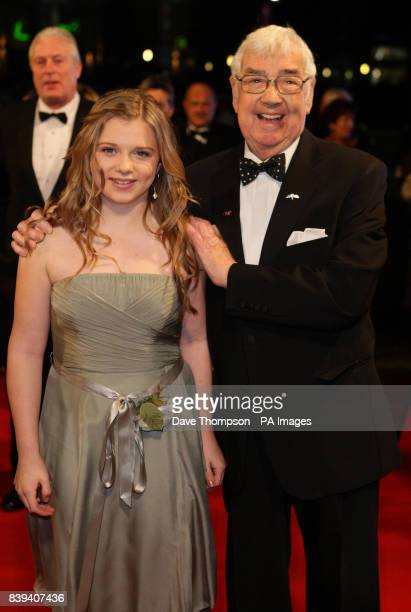 Frank Carson poses with Casey Donnelly who is due to present some flowers to Princess Anne at The Lowry Theatre in Salford for the Royal Variety...