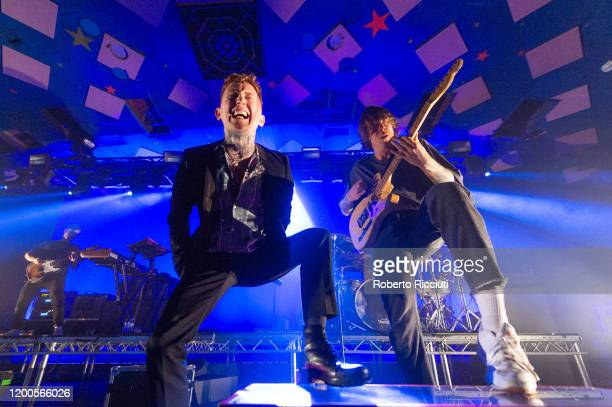 Frank Carter and Dean Richardson of Frank Carter the Rattlesnakes perform on stage at Barrowland Ballroom on February 13 2020 in Glasgow Scotland