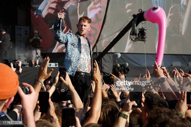 Frank Carter of Frank Carter and the Rattlesnakes performs live on the Main Stage during day three of Reading Festival 2019 at Richfield Avenue on...