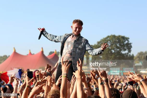 Frank Carter of Frank Carter & The Rattlesnakes performs live on the Main Stage during day three of Reading Festival 2019 at Richfield Avenue on...