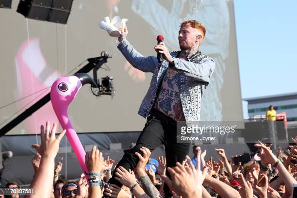 Frank Carter of Frank Carter The Rattlesnakes performs live on the Main Stage during day three of Reading Festival 2019 at Richfield Avenue on August...