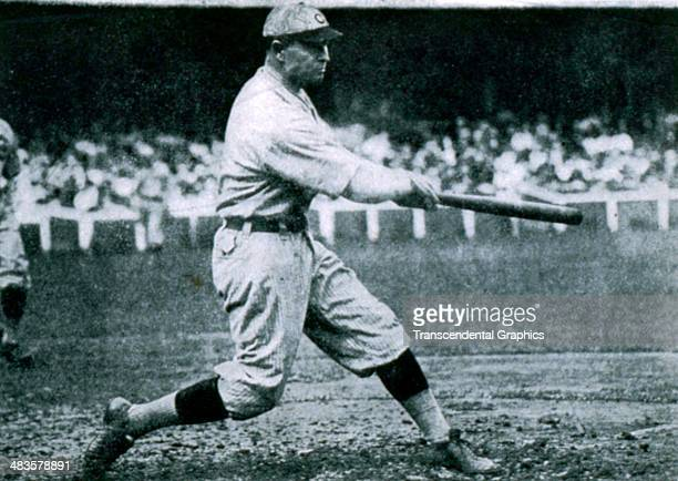 Frank Chance first baseman for the Chicago Cubs takes a big swing during a game in 1908 at Wrigley Field in Chicago Illinois
