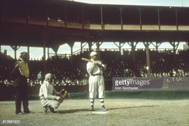 CHICAGO IL OCTOBER 1907 Frank Chance first baseman of the Chicago Cubs awaits a pitch in the 1907 Worlds Series in October in Chicago's West Side...