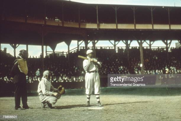 CHICAGO OCTOBER 1907 Frank Chance first baseman of the Chicago Cubs awaits a pitch in the 1907 Worlds Series in October in Chicago's West Side...