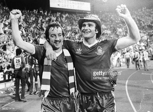 Frank Clark and Larry Lloyd celebrate Nottingham Forest's victory in the European Cup Final 30th May 1979 Forest beat Swedish champions Malmo 10 in...