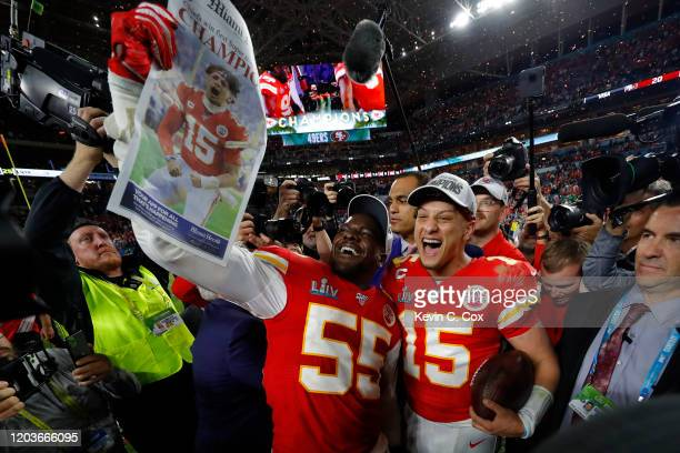 Frank Clark of the Kansas City Chiefs and Patrick Mahomes of the Kansas City Chiefs celebrate after defeating San Francisco 49ers by 31 20in Super...