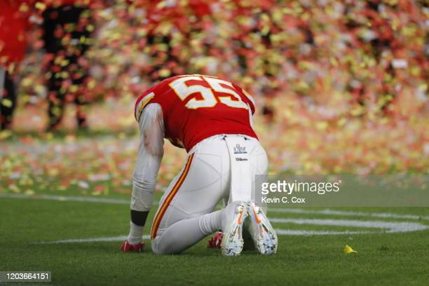 Frank Clark of The Kansas City Chiefs celebrate after defeating the the San Francisco 49ers in Super Bowl LIV at Hard Rock Stadium on February 02...