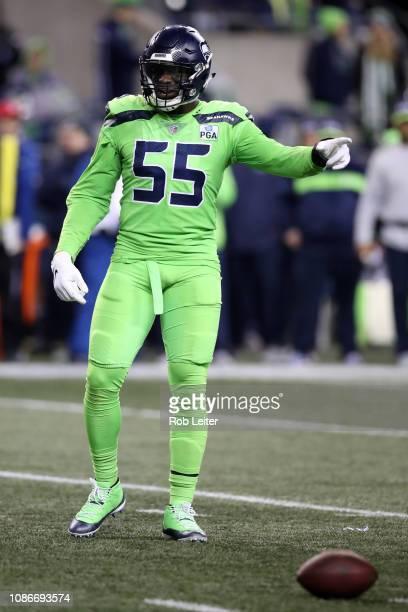 Frank Clark of the Seattle Seahawks in action during the game against the Minnesota Vikings at CenturyLink Field on December 10 2018 in Seattle...
