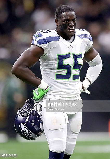 Frank Clark of the Seattle Seahawks stands on the field during a game against the New Orleans Saints at the MercedesBenz Superdome on October 30 2016...
