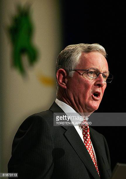 Frank Conroy the outgoing chairman of StGeorge Bank addresses the company's annual general meeting in Sydney 17 December 2004 Conroy announced that...