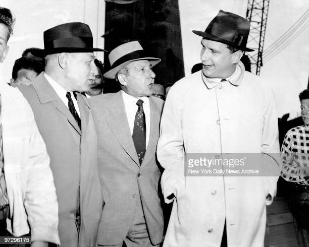 Frank Costello is freed from Rikers Island and with him are his attorneys on his left Morris Shilensky and his right is Edward Williams