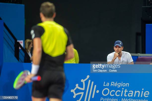 Frank Dancevic coach of Vasek Pospisil of Canada encourages from the sideline during his match against David Goffin of Belgium in the Semi Finals of...