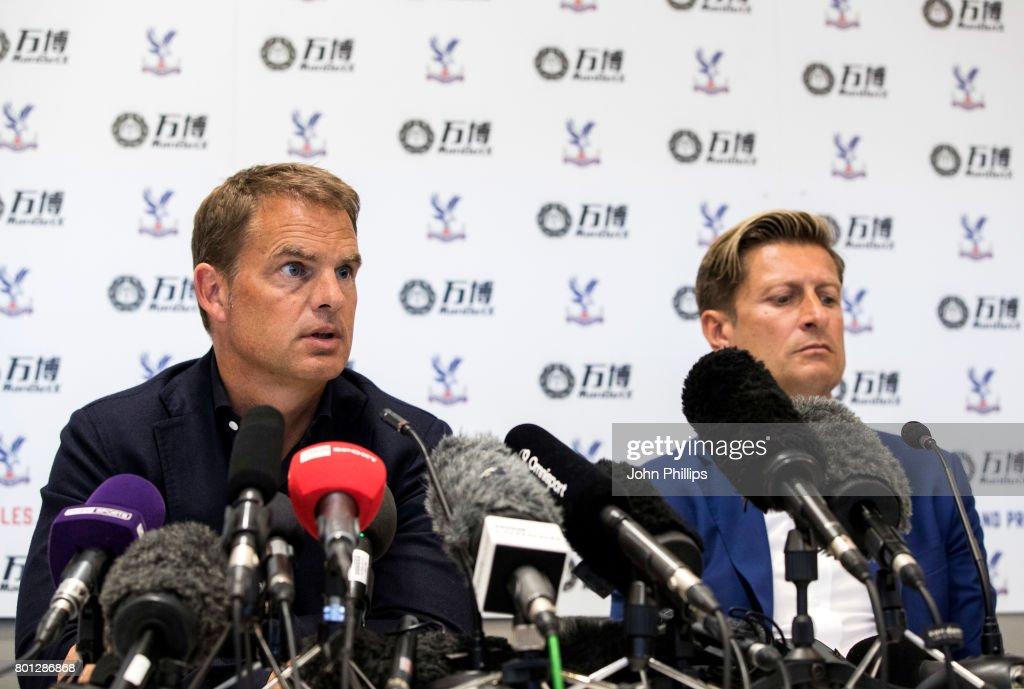 Frank de Boer and Steve Parish during a press conference at Beckenham training ground on June 26, 2017 in Beckenham, England.