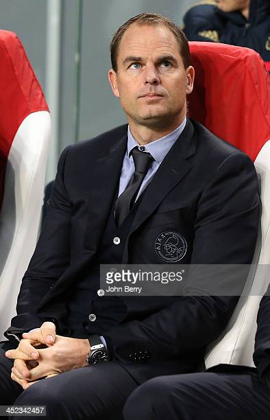 Frank De Boer coach of Ajax looks on during the UEFA Champions League Group H match between Ajax Amsterdam and FC Barcelona at Amsterdam Arena on...