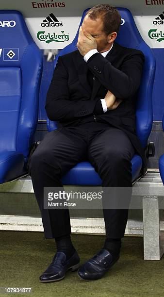 Frank de Boer head coach of Amsterdam reacts prior to the friendly match between Hamburger SV and Ajax Amsterdam at Imtech Arena on January 2011 in...