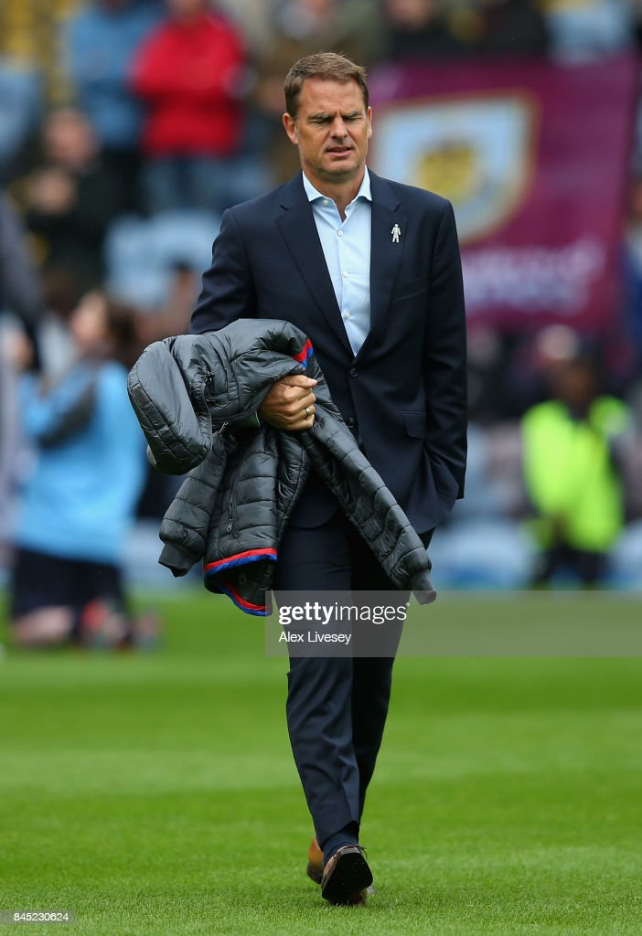 Frank de Boer, Manager of Crystal Palace looks on during the Premier League match between Burnley and Crystal Palace at Turf Moor on September 10, 2017 in Burnley, England.