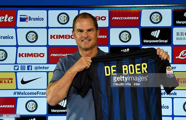 Frank de Boer poses for a photo during FC Internazionale Unveils New Coach Frank De Boer at Appiano Gentile on August 9 2016 in Como Italy
