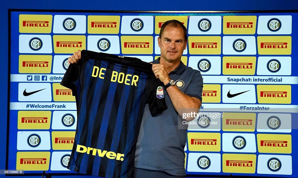 Frank de Boer poses for a photo during FC Internazionale Unveils New Coach Frank De Boer at Appiano Gentile on August 9, 2016 in Como, Italy.