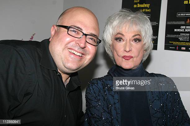 Frank DeCaro and Bea Arthur during Bea Arthur Back on Broadway A Benefit for The Ali Forney Center at Symphony Space in New York City New York United...