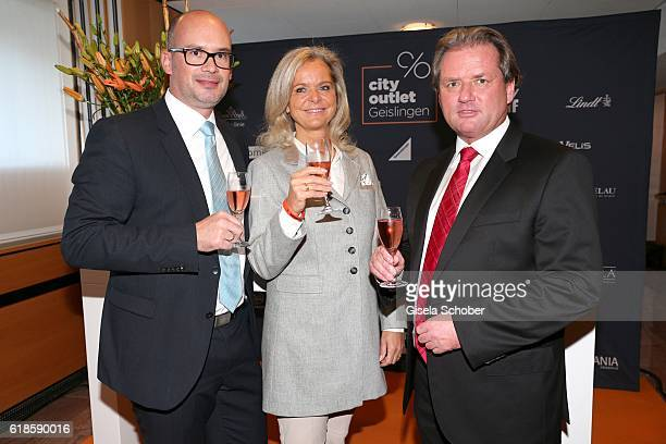 Frank Dehmer Mayor of Geislingen Sylvie Mutschler investor and Thomas Reichenauer Managing Director ROS Retail Outlet Shopping during the opening of...