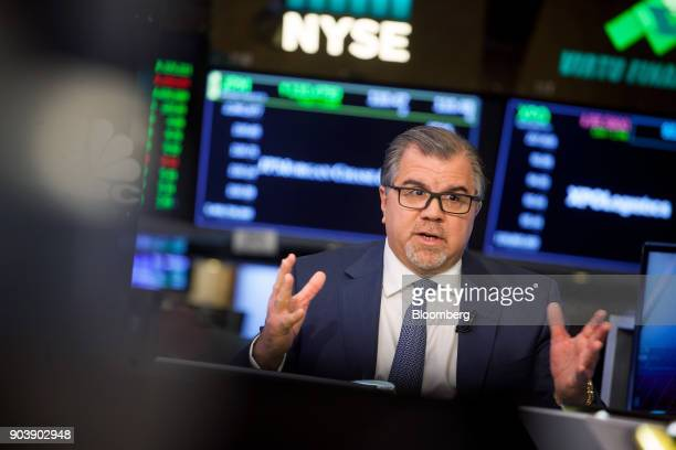 Frank Del Rio chief executive officer and president of Norwegian Cruise Line Holdings Ltd speaks during an interview on the floor of the New York...