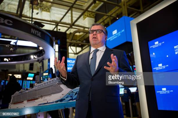 Frank Del Rio chief executive officer and president of Norwegian Cruise Line Holdings Ltd speaks during a Bloomberg Television interview on the floor...