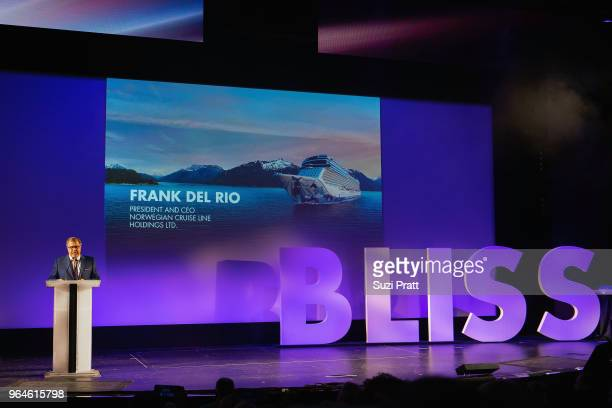 Frank Del Rio president and CEO of Norwegian Cruise Line Holdings at Norwegian Bliss christening ceremony at Pier 66 on May 30 2018 in Seattle...