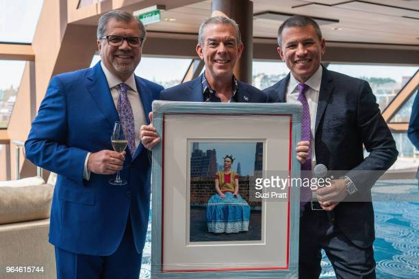 Frank Del Rio president and CEO of Norwegian Cruise Line Holdings Radio Personality Elvis Duran and Godfather to Norwegian Bliss and Andy Stuart...