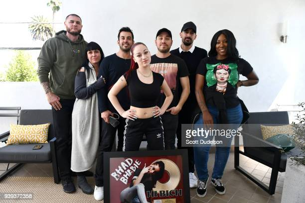 Frank Dellato Elyse Rogers Adam Kluger Dan Roof Musician Bhad Bhabie real name Danielle Bregoli Aton BenHorin and Brittany Barber attend Gold record...