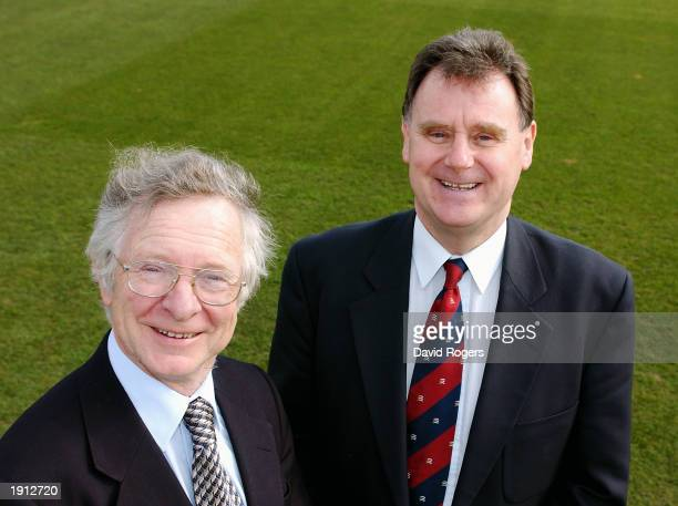 Frank Duckworth and Tony Lewis the inventors of the Duckworth-Lewis method on March 25, 2003 at the County Ground in Northampton, England.