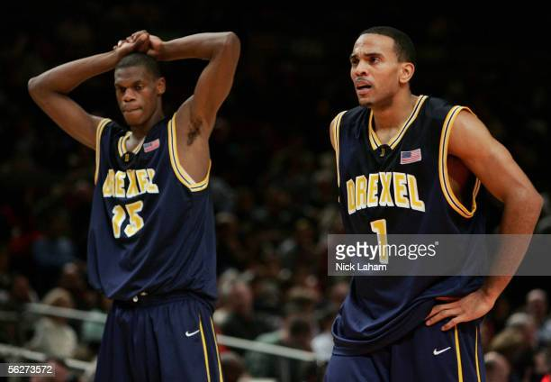 Frank Elegar and Kenell Sanchez of the Drexel Dragons react to losing their Preseason NIT Tournament game to the UCLA Bruins at Madison Square Garden...