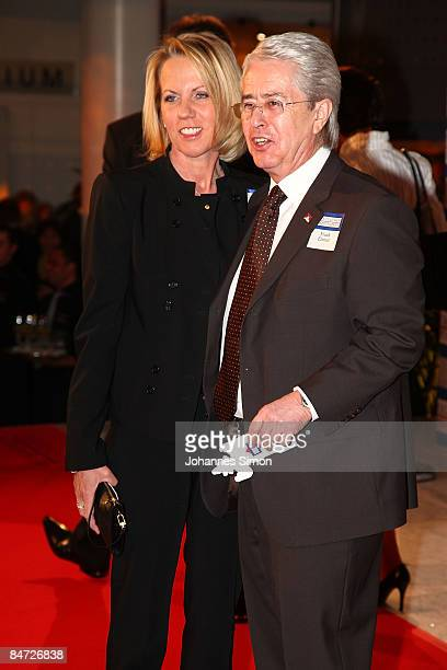 Frank Elstner and his girlfriend Britta Gessler attend the awarding ceremony of the German Media Award on February 10 2009 in BadenBaden Germany