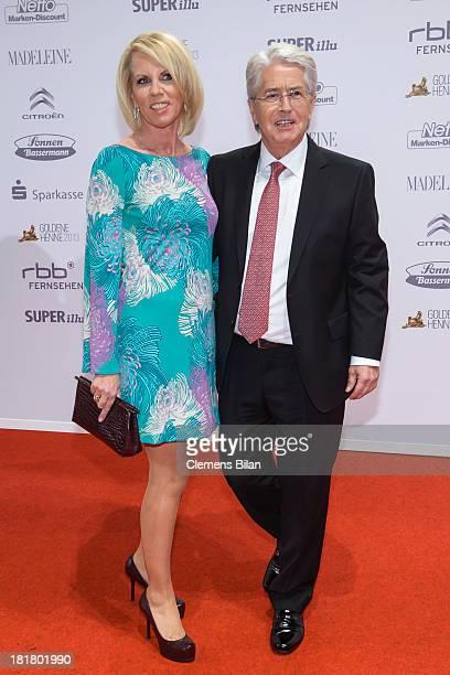 Frank Elstner and his wife Britta Gessler arrive for the Goldene Henne 2013 award at Stage Theater on September 25, 2013 in Berlin, Germany.