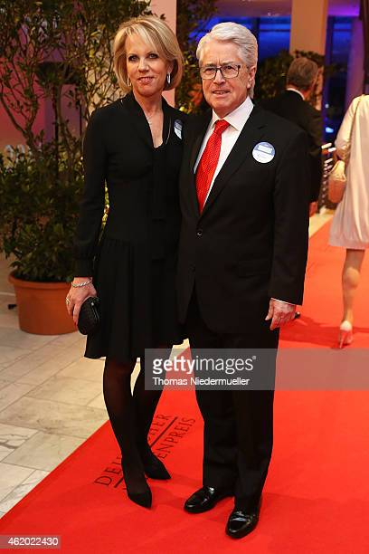 Frank Elstner and his wife Britta Gessler arrive the red carpet during the German Media Award 2014 on January 23, 2015 in Baden-Baden, Germany.
