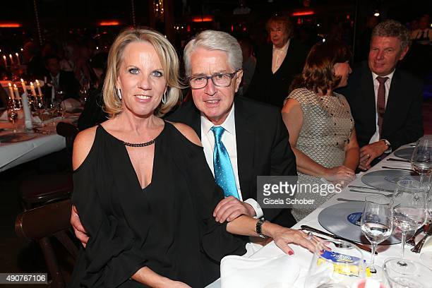 Frank Elstner and his wife Britta Gessler during Ralph Siegel's 70th birthday party at Schuhbeck's Teatro on September 30 2015 in Munich Germany