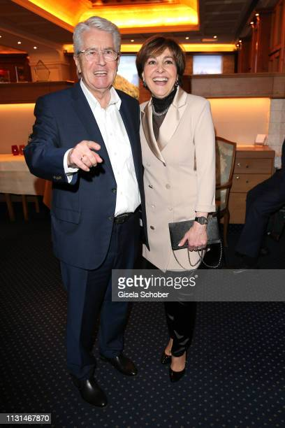 Frank Elstner and Paola Felix during the celebration of Peter Kraus' 80th birthday at Schuhbecks Suedtiroler Stuben on March 18 2019 in Munich Germany