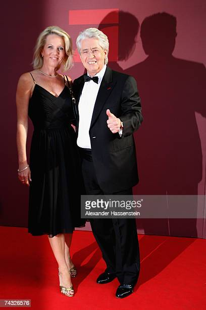 Frank Elstner arrives with his wife Britta Gessler for the 'Blaue Panther' Bavarian Television Award 2007 Ceremony at the Prinzregenten Theater on...